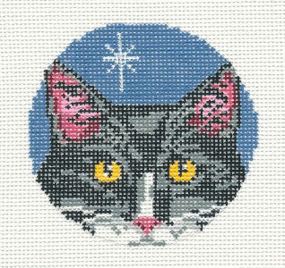 "Cat Round ~ Black & White Cat Face 4"" Ornament 13M handpainted Needlepoint Canvas~by Needle Crossings"