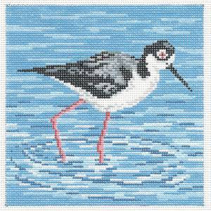 Canvas~Elegant Black-Necked Stilt Bird handpainted Needlepoint Canvas~by Needle Crossings