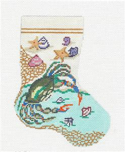 Stocking~Blue Crab and Beach handpainted Needlepoint Canvas~by Needle Crossings