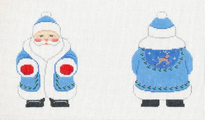 2 Side Santa~Blue Coat Blue Santa Ornament handpainted Needlepoint Canvas by Susan Roberts