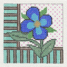 "Canvas~Blue Spring Flower 4"" Sq. 13 mesh handpainted Needlepoint Canvas by Patti Mann"