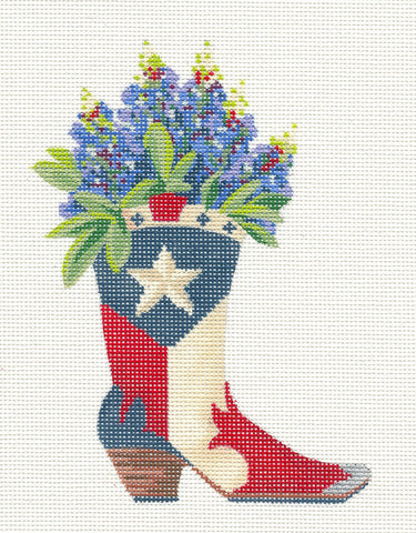 Kelly Clark Canvas– Texas Boot With Bluebonnets  handpainted Needlepoint Canvas**SP. ORDER**