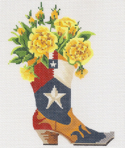 Kelly Clark Canvas – Texas Lonestar Boot and Yellow Roses handpainted Needlepoint Canvas