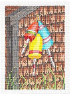 Canvas~Three Buoys on the Shed handpainted Needlepoint Canvas~by Needle Crossings