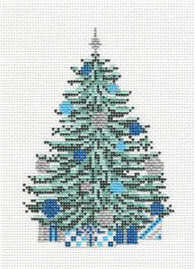 Canvas~ Christmas Tree Blue & Silver Tree handpainted Needlepoint Canvas~by Needle Crossings