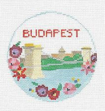 Travel Round~Budapest handpainted Needlepoint Canvas~by Kathy Schenkel**MAY NEED TO BE SPECIAL ORDERED**