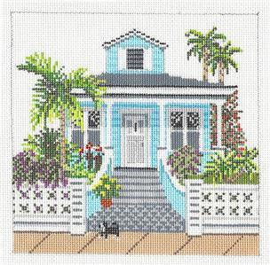 Canvas House~Tropical Bungalow House handpainted Needlepoint Canvas~by Needle Crossings