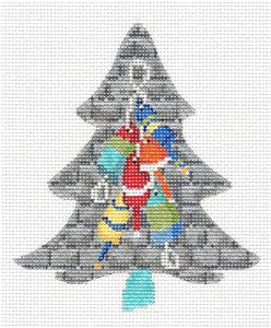 Kelly Clark Tree- Coastal Lobster Buoy Tree & Stitch Guide HP Needlepoint Canvas
