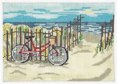 Canvas~Summer Bicycle at the Beach handpainted Needlepoint Canvas~by Needle Crossings