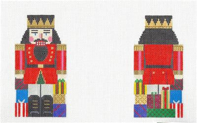 2 Sided Nutcracker with Presents HP Needlepoint Ornament by Susan Roberts