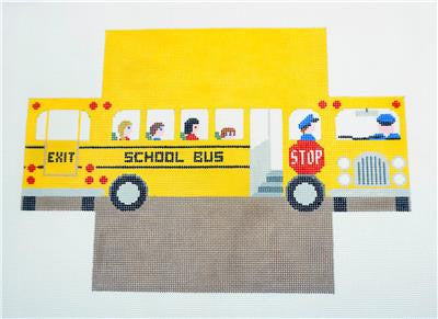 Brick Cover~School Bus Brick Cover Door Stop handpaintd Needlepoint Canvas Susan Roberts