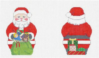 2 Sided Santa with a Toy Bag HP Needlepoint Ornament by Susan Roberts