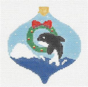 Bauble~Killer Whale & Wreath Bauble handpainted Needlepoint Canvas~by Kathy Schenkel