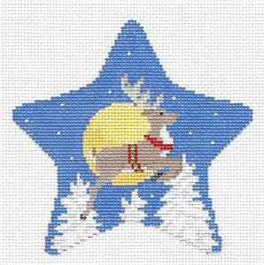 Christmas~Star  Flying Reindeer & Moon HP Needlepoint Ornament Canvas Susan Roberts