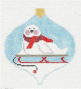 Bauble~Seal on a Sled Bauble handpainted Needlepoint Canvas~by Kathy Schenkel