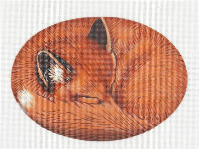Canvas~Sleeping Baby Fox handpainted Needlepoint Canvas by LIZ from S. Roberts