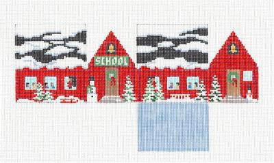3D Christmas School House handpainted Needlepoint Ornament Susan Roberts
