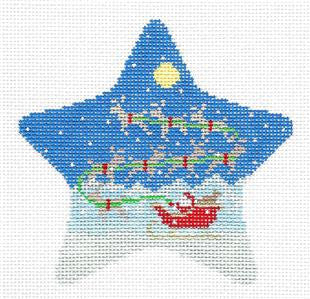 Christmas~Star Sleigh & 8 Reindeer HP Needlepoint Ornament Canvas by Susan Roberts