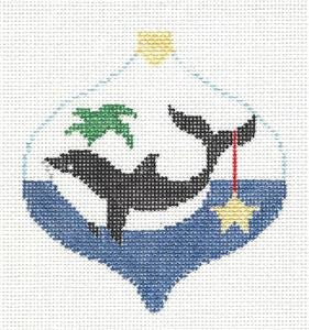 Bauble~Killer Whale & Star Bauble handpainted Needlepoint Canvas~by Kathy Schenkel