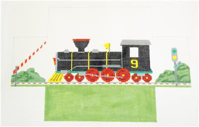 Brick Cover~Train Engine #9 Brick Cover Door Stop HP Needlepoint Canvas Susan Roberts