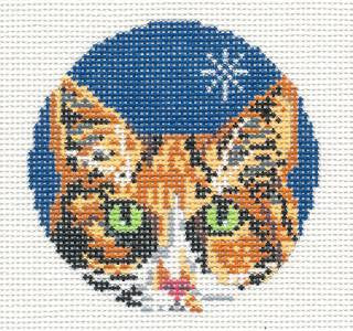 "Round~3"" Calico Cat Face Ornament 18M handpainted Needlepoint Canvas~by Needle Crossings"