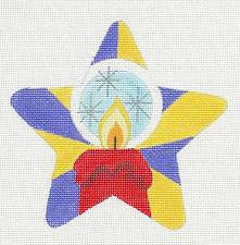 Star~Candle Flame Star handpainted Needlepoint Canvas by Raymond Crawford