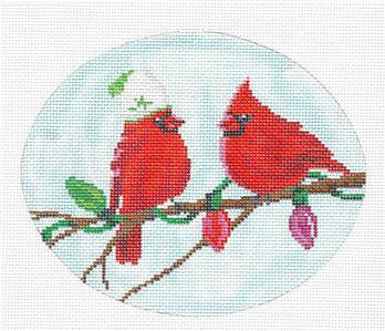 Oval- Cardinals with Lights Handpainted Needlepoint Canvas by Scott Church