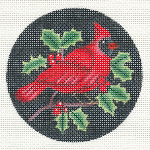 Round~Winter Cardinal Bird & Holly handpainted Needlepoint Canvas~ by Amanda Lawford
