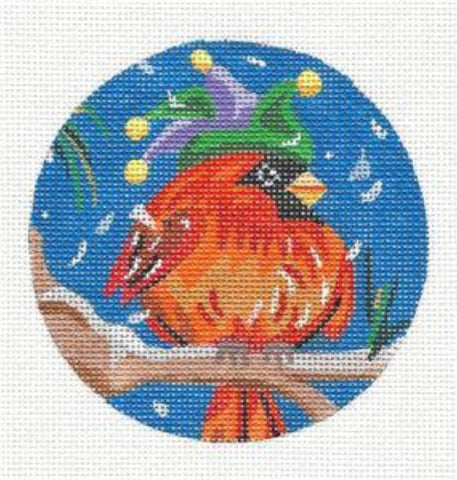 Round~Cardinal in Hat handpainted on Hand Painted Needlepoint Canvas by JulieMar