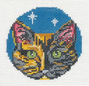 "Round~3"" Torti Tortoiseshell Cat Face Ornament 18M handpainted Needlepoint Canvas~by Needle Crossings"