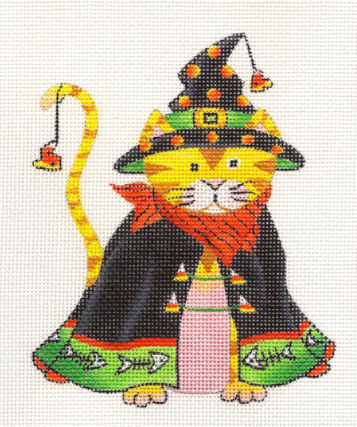 Halloween Cat in Hat and Cape on Handpainted Needlepoint Canvas ~ by Danji Designs