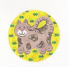 "Round~Tabby Cat on Yellow Canvas 4.5"" Round handpainted Needlepoint Canvas"