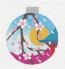 Round~Oriental Cherry Blossoms handpainted Needlepoint Canvas by Raymond Crawford