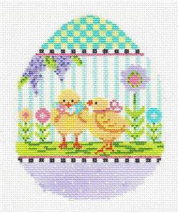 Kelly Clark – Easter 2 Baby Chicks EGG handpainted Needlepoint Canvas Ornament