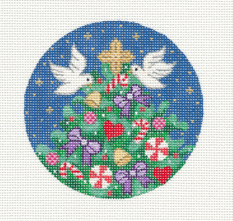 "Round~Christmas Tree with 2 Doves 4"" Round handpainted Needlepoint Canvas~ by Amanda Lawford"