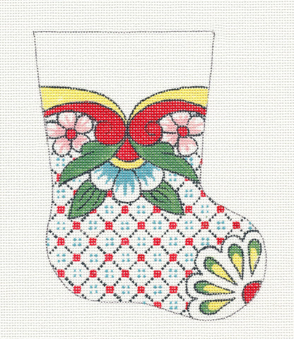 Creative Needle Mini Stocking Yellow & Green Flower Toe