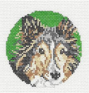 "Round~3"" Collie Dog Ornament handpainted Needlepoint Canvas~by Needle Crossings"