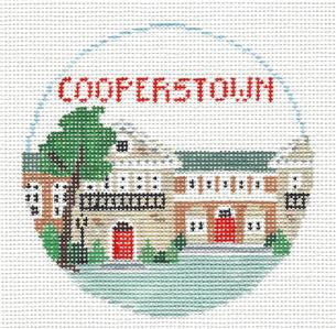 Travel Round~Cooperstown New York handpainted Needlepoint Canvas~by Kathy Schenkel**MAY NEED TO BE SPECIAL ORDERED**
