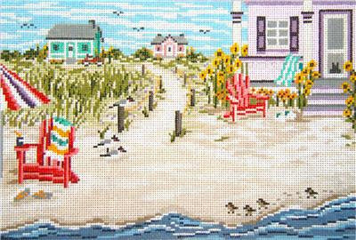 Canvas~Beachside Cottage Scene handpainted Needlepoint Canvas~by Needle Crossings