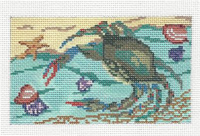Canvas~Blue Crab & Shells handpainted Needlepoint Canvas~by Needle Crossings