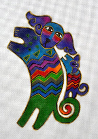 Laurel Burch Colorful Dancing Dogs Handpainted HP Needlepoint Canvas by Danji Designs
