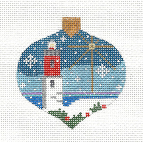 Bauble Winter Lighthouse Ornament on Handpainted Canvas