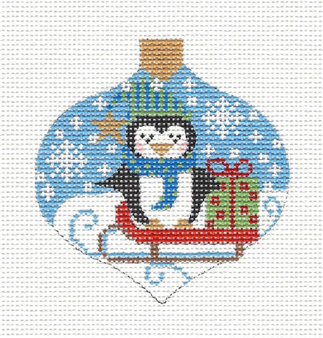 Bauble Penguin on a Sled Ornament on Handpainted Needlepoint Canvas