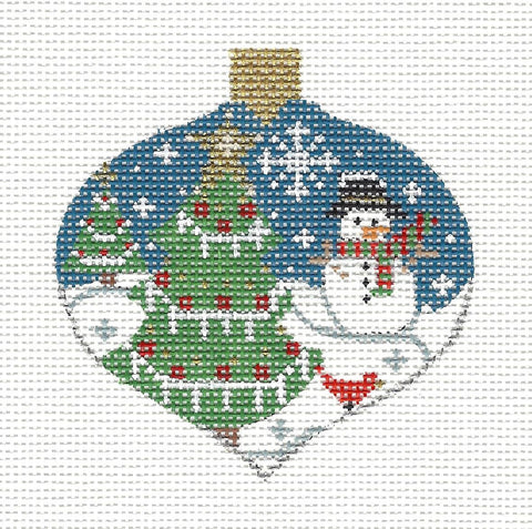 Bauble Snowman and Trees Ornament on Handpainted Needlepoint Canvas