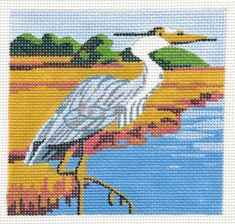 Canvas-Great Blue Heron on Handpainted Needlepoint Canvas ~ by Danji Designs