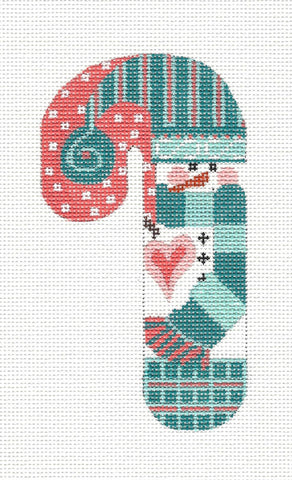 Medium Candy Cane Snowman in Teal Ornament on hand painted Needlepoint Canvas~ by Danji Designs **SP. ORDER**