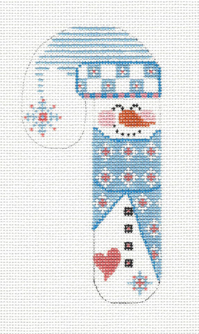 Medium Candy Cane Snowman in Lt. Blue Ornament on hand painted Needlepoint Canvas~ by Danji Designs **SP. ORDER**