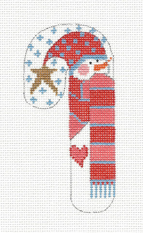 Small Candy Cane Snowman with Red/Peach Scarf on hand painted Needlepoint Canvas~ by Danji Designs