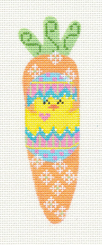 Easter-Chick In Egg Carrot Ornament on Handpainted Needlepoint Canvas ~ by Danji Designs