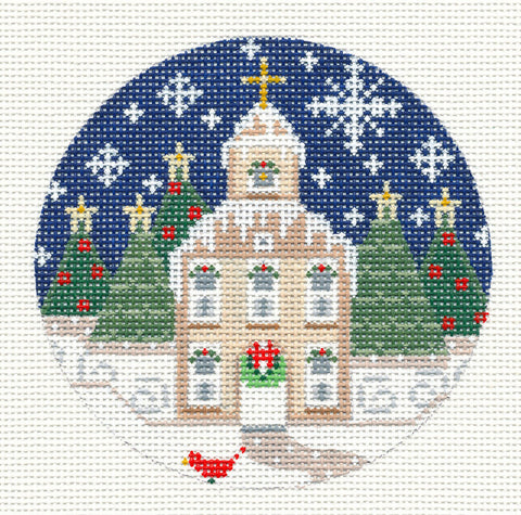 Village Series Christmas Church on Handpainted Needlepoint Canvas *** SP. ORDER***